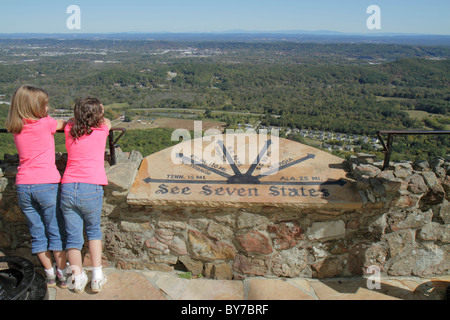 Georgia Lookout Mountain Rock City Lover's Leap seven states roadside attraction panoramic view coin-operated binoculars - Stock Photo