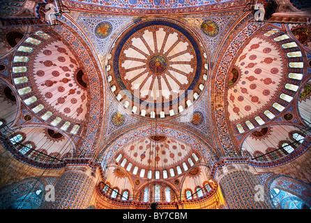 Interior of Blue Mosque (Sultanahmet Camii). Istanbul, Turkey - Stock Photo