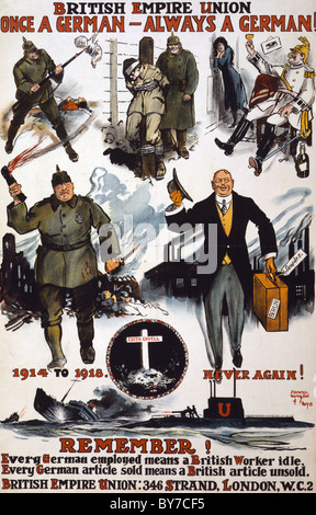 BRITISH EMPIRE UNION poster from 1918 promoting anti-German feeling - Stock Photo