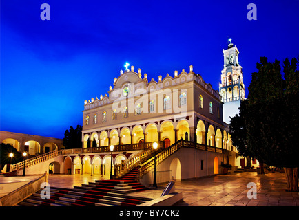 The church of Virgin Mary (Panagia) in Tinos island, in the 'blue' hour. Cyclades, Greece - Stock Photo