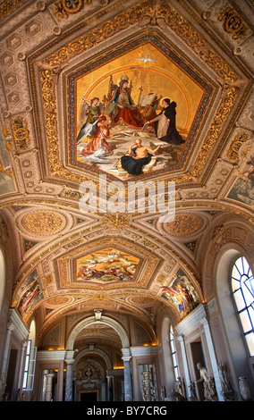 Vatican Museum Inside Ornate Painted Ceiling and Statues - Stock Photo