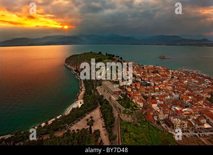 Panoramic view of Nafplio town and the Argolic gulf from Palamidi Castle, around sunset. Peloponnese, Greece - Stock Photo