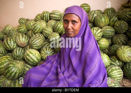 Melon seller at Hargeisa Market, Hargeysa, Somaliland, Somalia, Africa - Stock Photo