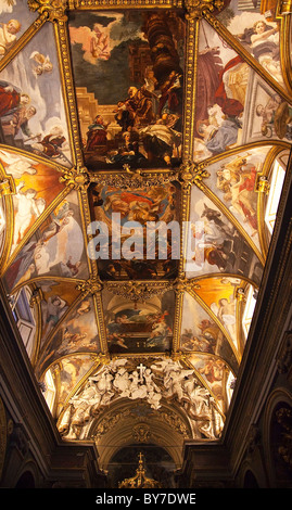 Santa Maria Church, Painted Ceilings, Next to Trevi Fountain, Rome, Italy - Stock Photo
