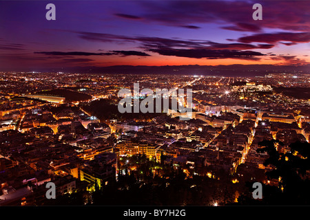 Panoramic view of Athens city from Lycabettus hill, after sunset. Greece - Stock Photo