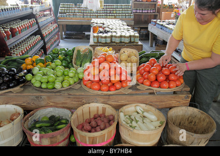 Nashville Tennessee Nashville Farmers' Market agriculture locally grown produce vegetables fresh tomatoes eggplant - Stock Photo