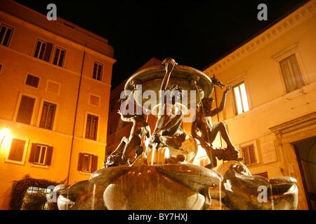 fontana delle tartarughe fountain in rome - Stock Photo