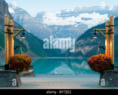 Chateau lake louise in canadian rocky mountains in winter for 1161 dawn view terrace