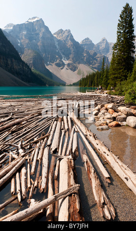 Morraine Lake, near Lake Louise, in Banff National Park in the Rocky Mountains, Alberta, Canada - Stock Photo