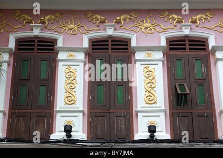 Building Facade  Soi Romanee Phuket Town Phuket Thailand - Stock Photo