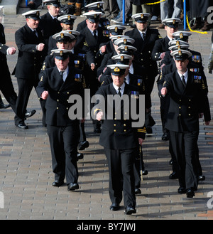 Naval officers of HMS Ark Royal on parade during the ships Decommissioning ceremony on Guildhall Square Portsmouth - Stock Photo