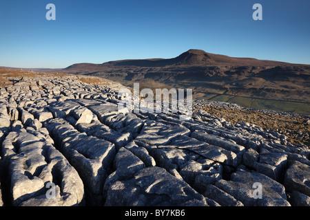 The Mountain of Ingleborough From Twistleton Scars Yorkshire Dales UK - Stock Photo