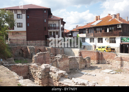 Ancient ruins in Nessebar, Bulgaria - Stock Photo