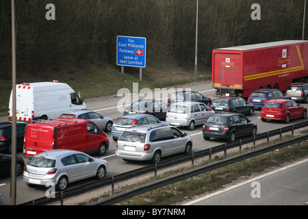 motorway congestion on the m1 junction 24 - Stock Photo