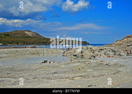 Laghetto Di Fanghi mud baths, Vulcano, Aeolian Islands (Lipari Islands), Italy, Europe. - Stock Photo