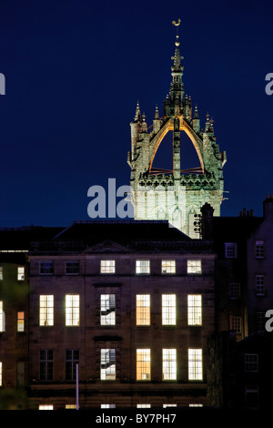 The Crown Spire on the Tower of St Giles' Cathedral, Edinburgh, Scotland, UK. - Stock Photo