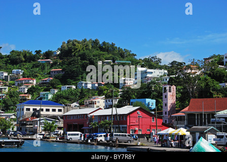 View of the town the coastline, St. George's, Grenada, Caribbean. - Stock Photo