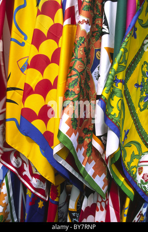 Abstract image of the Contrade flags of Siena, Italy