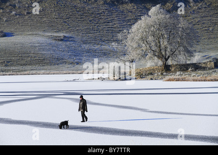 Winter walking on the frozen lake of lough Gur, Co Limerick, Republic of Ireland. - Stock Photo