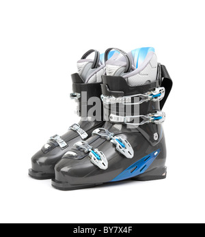 Brand new pair of ski boots isolated on white background - Stock Photo