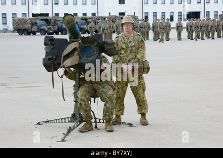 Australian Army personnel on parade and exercises, Torrens Parade Ground, Adelaide, South Australia - Stock Photo