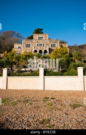 Luxury Beachfront House Pett Level East Sussex England - Stock Photo