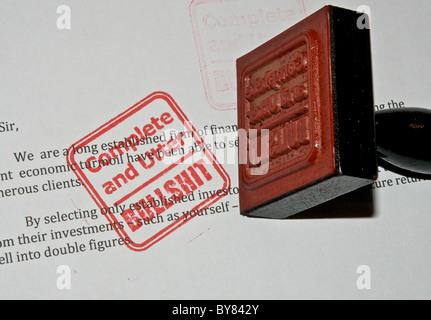 Rubber Stamp - Complete and Utter Bullshit - Stock Photo