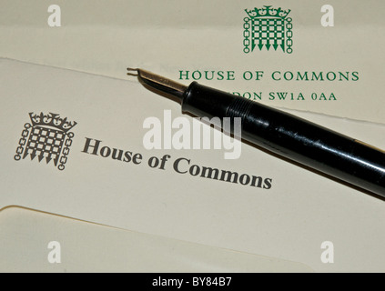 House of Commons stationery, letterhead and envelope. - Stock Photo
