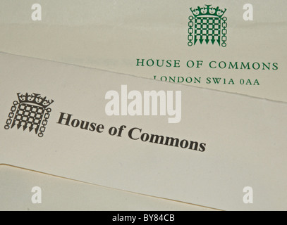 House of Commons stationery letterhead and envelope - Stock Photo