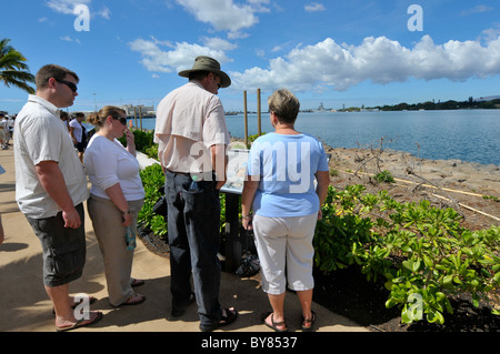 Visitors to Pearl Harbor Pacific National Monument Hawaii - Stock Photo