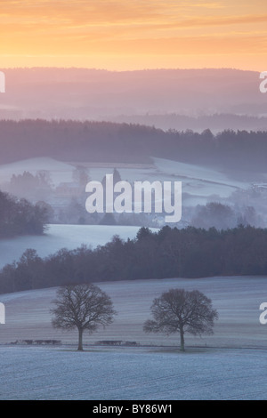 View from Newlands Corner overlooking Albury. A covering of frost and pockets of morning mist floating between the - Stock Photo