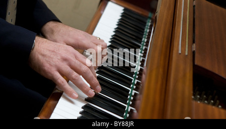 Hands playing piano, - Stock Photo