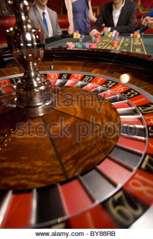 Close up of spinning roulette wheel - Stock Photo