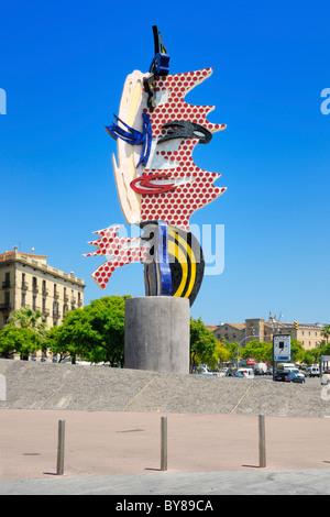 The sculpture El Cap de Barcelona at Placa d'Antoni Lopez in Barcelona, Spain. - Stock Photo