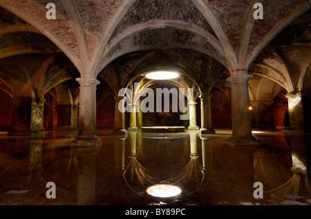 Reflection of skylight in underground Portuguese cistern water in the old city of El Jadida Morocco North Africa - Stock Photo