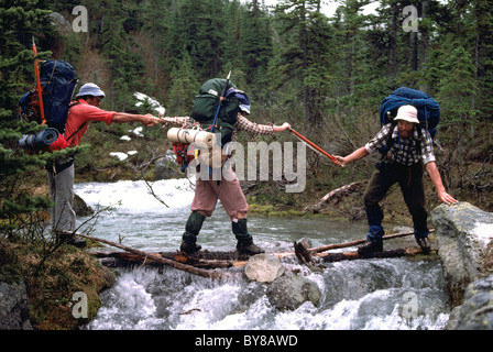 Hikers / Backpackers helping Each Other across Makeshift Bridge over Mountain Creek near Pemberton, BC, British Columbia, Canada