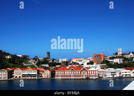 View of the town and coastline, St. George's, Grenada, Caribbean. - Stock Photo