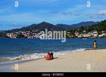 View along the beach with the town to the rear, St. George's, Grenada, Caribbean. - Stock Photo