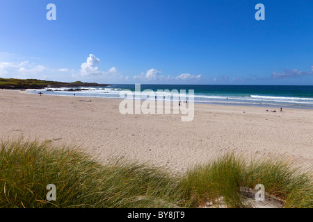 Scotland Argyll & Bute Inner Hebrides Balevullin Beach during peak holiday season in august - Stock Photo