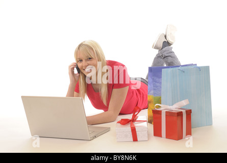 young woman online shopping - Stock Photo