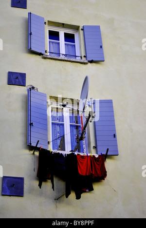 windows classic Italian architecture in the historic center - Stock Photo