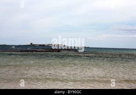 The Farne Islands from the beach at Bamburgh Northumberland England - Stock Photo