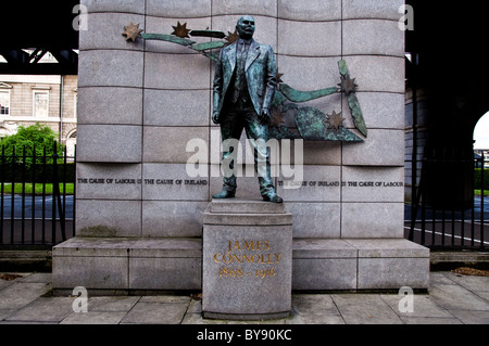 Statue of James Connolly in Beresford Place Dublin - Stock Photo