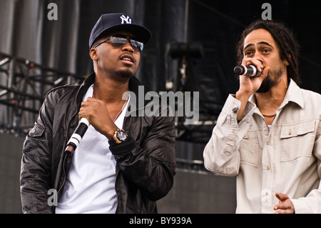 Nas and Damien 'Jr. Gong' Marley preform live at the Mile High Music Festival in Colorado, 2010 - Stock Photo