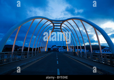 Display Lighting on the Contemporary Bridge to Achill Island at Achill Sound, County Mayo, Ireland - Stock Photo
