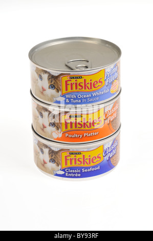 Stacked cans of Purina's Friskies cat food on white background, cut out - Stock Photo