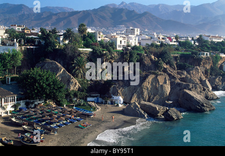 View from Balcony of Europe, Nerja, Andalusia, Spain - Stock Photo