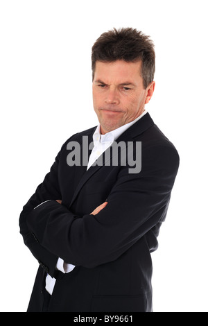Attractive middle-aged man in stressed mood. All on white background. - Stock Photo