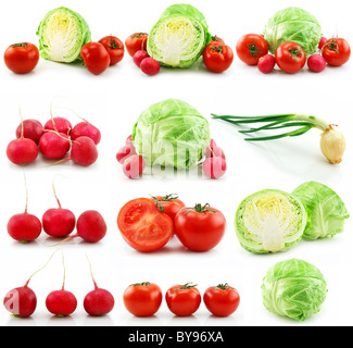 Collection of Ripe Vegetables Isolated on White - Stock Photo