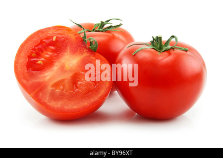 Ripe Sliced Tomatoes Isolated on White - Stock Photo